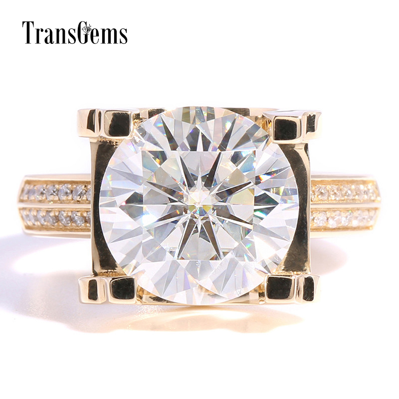 Transgems 5ct Carat Lab Grown Moissanite Wedding Engagement Rings Solid 14K Yellow Gold Lab Diamonds Accents Woman Band transgems 1ct carat lab grown moissanite diamond jewelry wedding anniversary band solid white gold engagement ring for women