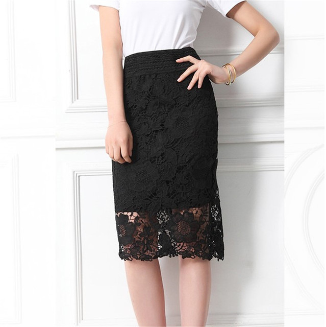cb660463d63 WEIKADUN Women Lace Pencil Skirts 2017 Fashion A-Line Hollow Out High Waist  Elastic knee length Bodycon White Black SKirt D71