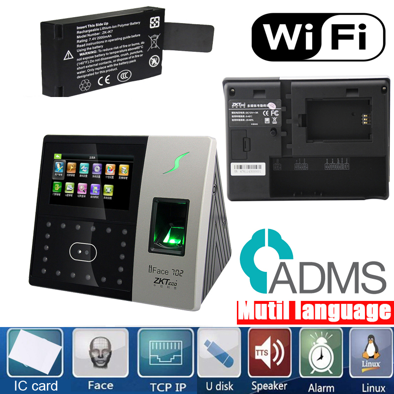 ZKteco IFace702 Wifi Biometric Face Recognition Face Fingerprint And IC Card Time Clock Access Control Machinetime Attendance