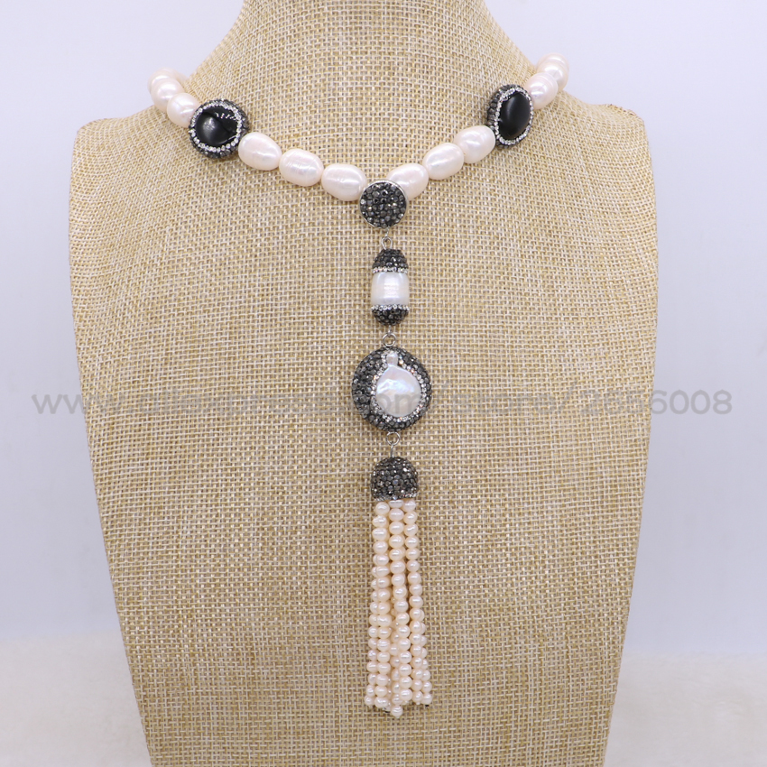 Natural Pearl&black stone druzy chain necklace Handcrafed Pearl necklace natural pearl with bead tassel pendant necklace 1683