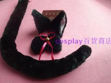cos anime cat ear maid dress black cat tail tie