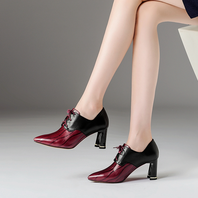 Tacones Mezclados Genuino Cuero Simloveyo Moda Zapatos Colores red Encaje Punta 2019 Superior Mujeres Altos Rojo Calidad Estrecha Black De Las BqwZBgp