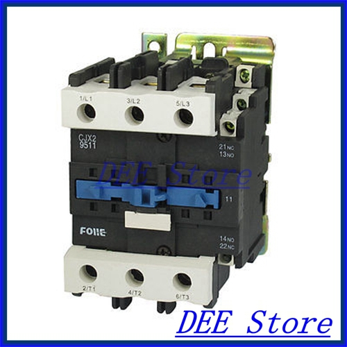 DIN Rail Mounted 3P 3 Poles 380V Coil 95Amp AC Contactor CJX2-9511 35mm din rail mounted 3p 1no 380v coil 25a ac contactor cjx2 2510