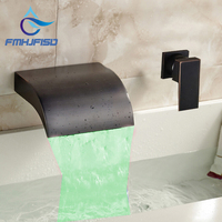 Oil Rubbed Bronze LED Waterfall Bathroom Tub Faucet Single Handle Mixer Tap Wholesale And Retail