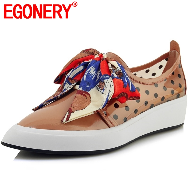 EGONERY Brand cow Leather silk Riband bow loafers 2019 Spring Autumn Microfiber Polka dot Leopard print