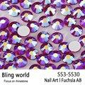 Diamantes de Imitación de cristal SS3-SS30 Fuchsia AB Del Arte Del Clavo Con Redondo Flatback Para Uñas de Arte Del Teléfono Celular Y Accesorios de BRICOLAJE