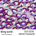 Glass Rhinestones SS3-SS30 Fuchsia AB Nail Art Rhinestones With Round Flatback For Nails Art Cell Phone And DIY  Accessories