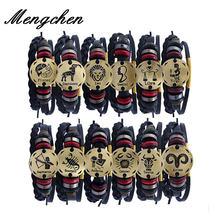 Кожаный браслет для мужчин с 12 созвездиями многоуровневый Регулируемый