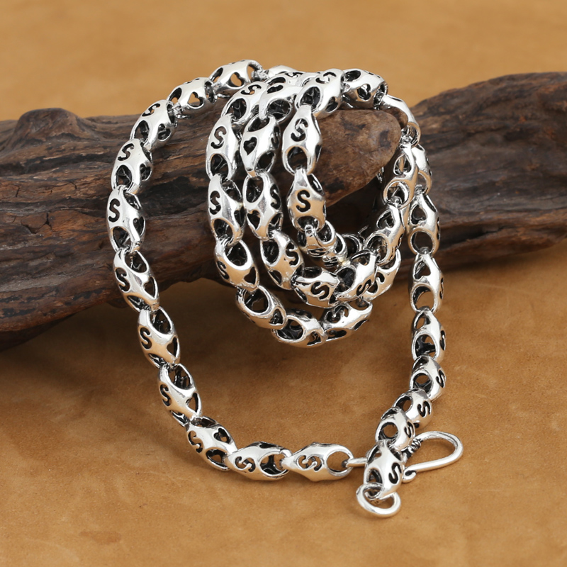 6 MM fait à la main 925 collier en argent Sterling chaînes collier pour hommes Vintage pur argent collier