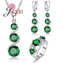 JEXXI Latest Bridal Wedding Jewelry Set Real 925 Sterling Silver and Special Green Cubic Zircon Stone Necklace Earrings Ring Set