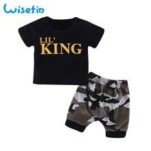 Wisefin bebé recién nacido niños ropa conjunto verano niños camisetas ropa  de niño negro Tops + bc83cef66d27