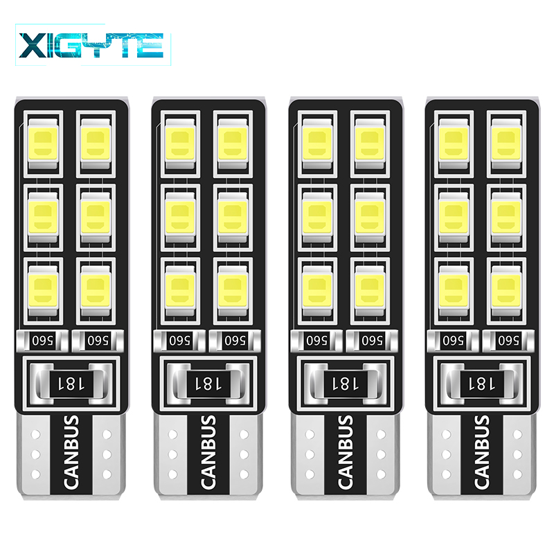 4pcs/Lot Canbus T10 12smd 2835 <font><b>LED</b></font> car Light Canbus <font><b>W5W</b></font> t10 <font><b>led</b></font> canbus 194 2835 SMD Error Free White Light <font><b>Bulbs</b></font> Car Styling image