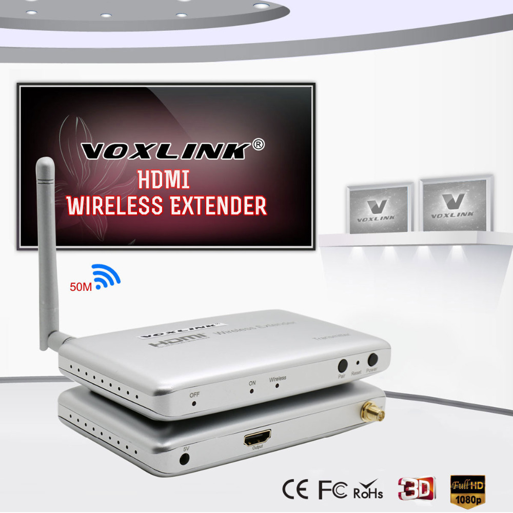 VOXLINK HDMI Wireless 5G Transmission Extender HD 1080P AV Video HDMI Transmitter&Receiver up to 50m Support HDCP 80 channels hdmi to dvb t modulator hdmi extender over coaxial