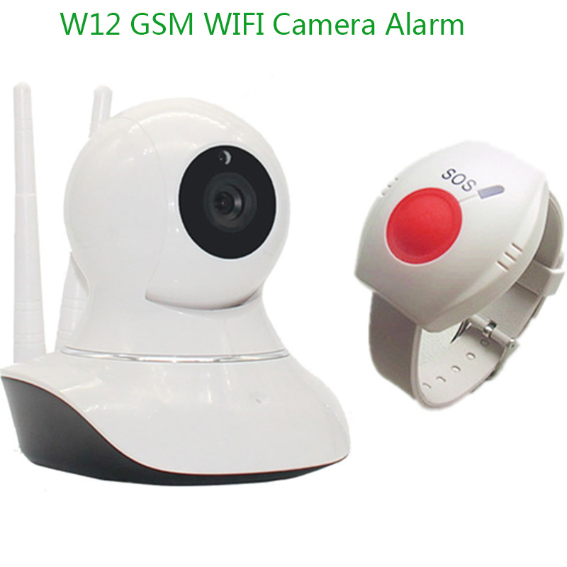 IP Camera WIFI Alarm Android/IOS APP GSM SMS Camera Video Monitor Wireless Remote Control 720P HD SOS Panic Button W12M inbraakalarm sos paniekknop lcd scherm sms panel ios android temperatuurregelaar gsm alarmsysteem k3b
