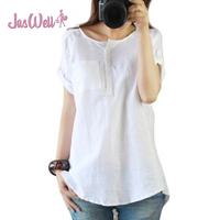 JasWell Womens Summer Casual Short Sleeve Loose T Shirt Cotton Linen Blend O Neck Soild With