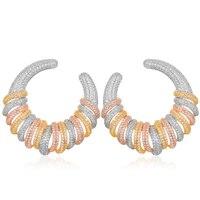 SisCathy Trendy Cubic Zircon Girls Earrings Fashion bohemian korean Stud Earrings Luxury CZ Circle Statement Ear Earring Jewelry