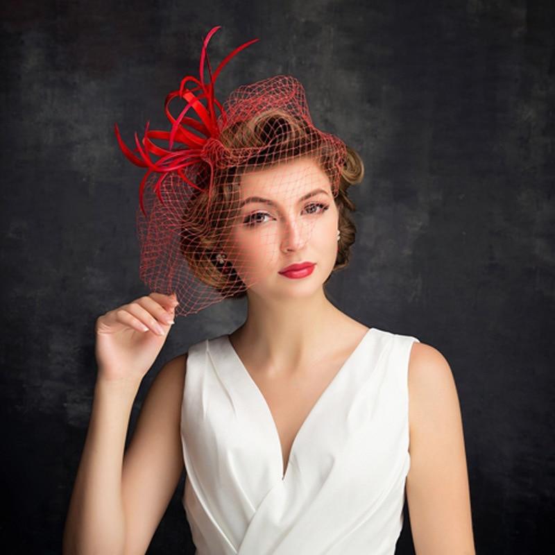 2018 European And American Feather Net Gauze Mask Hat Kearon Fashion Wedding Dress Cap Red Female Flower Head Wear