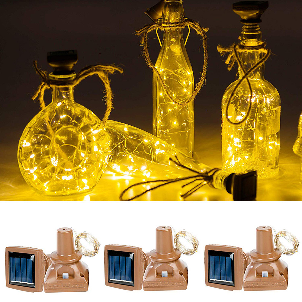 1Pcs 2M 20leds Solar Powered Wine Bottle Lights Waterproof Copper Wire Cork Shaped LED String Lights For Wedding Party Christmas