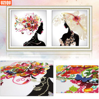 UzeQu 3D Special Shaped DIY Diamond Painting Cross Stitch Beauty Girl Diamond Embroidery Woman Mosaic Painting