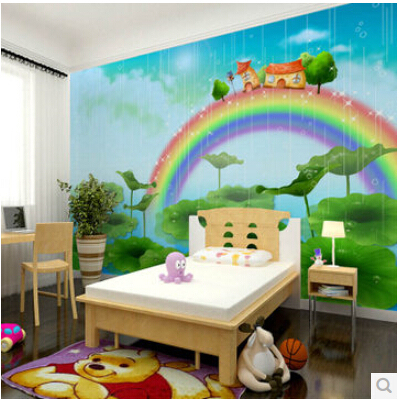 Mural Childrenu0027s Bedroom 3D Wallpaper Mural Male Girl Childrenu0027s Room 3D  Wallpaper Cartoon Murals Of The Rainbow