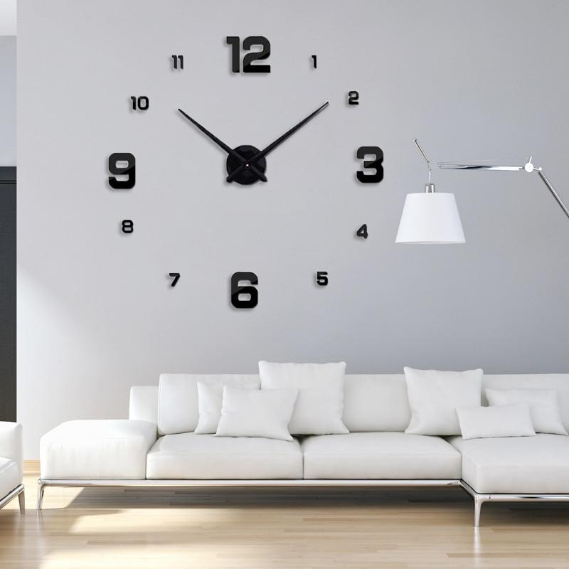 Freeshipping 2019 Nueva decoración del hogar espejo grande reloj de - Decoración del hogar - foto 2