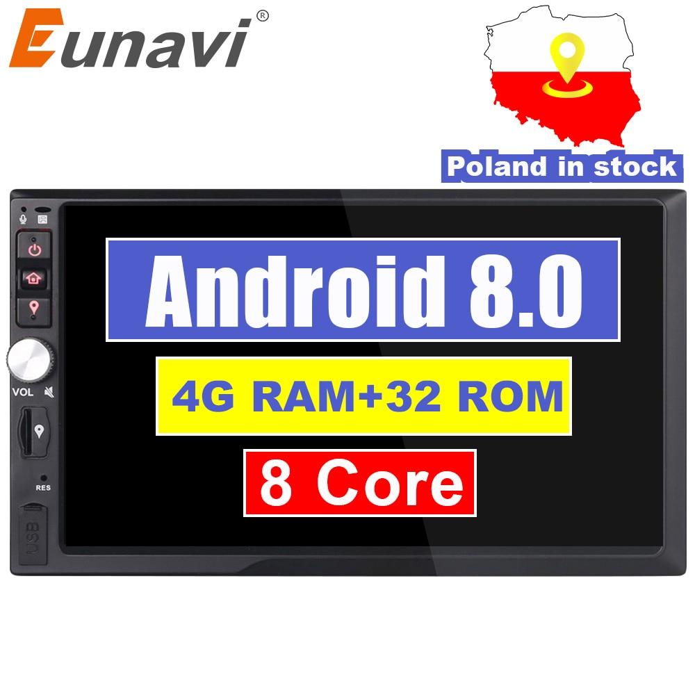 Eunavi 2 Din 7 ''Octa core Universal Android 8.0 4 gb RAM Auto Radio Stereo GPS Navigation WiFi 1024*600 Touchscreen 2din Auto PC