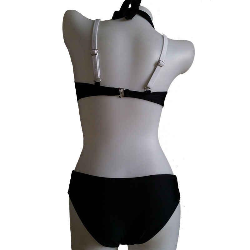 Women Summer Criss Cross Bikini Set Swimwear Push-up Padded Bra Bathing Suit Swimsuit Hollow Black White Biquini Beach Wear