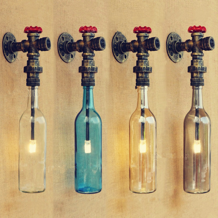 ФОТО Glass Bottle Retro Loft Water Pipe Wall Lamp Lights For Home Lighting Vintage Industrial Wall Sconce Arandela De Parede