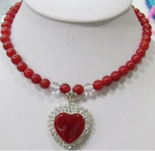 LL <<<0030 8mm Rouge Jades Perles Collier Pendentif Coeur(China)