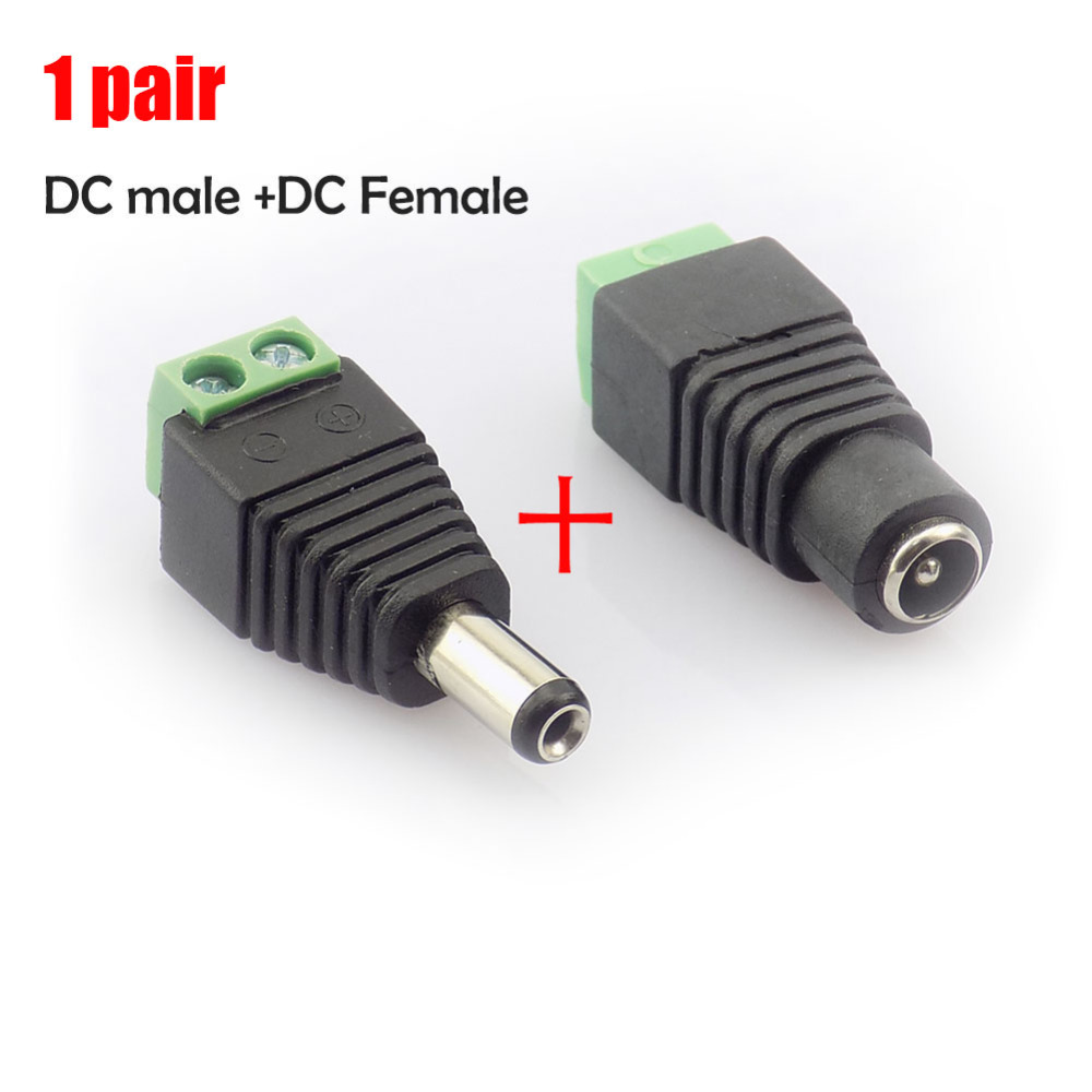 1 pair 2.1x5.5 mm DC Male + Female plug Connector power supply jack adapter BNC for CCTV camera LED strip lamp lighting light adapter sma plug male to 2 sma jack female t type rf connector triple 1m2f brass gold plating vc657 p0 5
