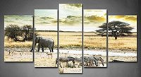 BANMU 5 Panelen Wild Afrika Animal Drink Water In Het Zwembad Foto Print Op Canvas Animal Foto