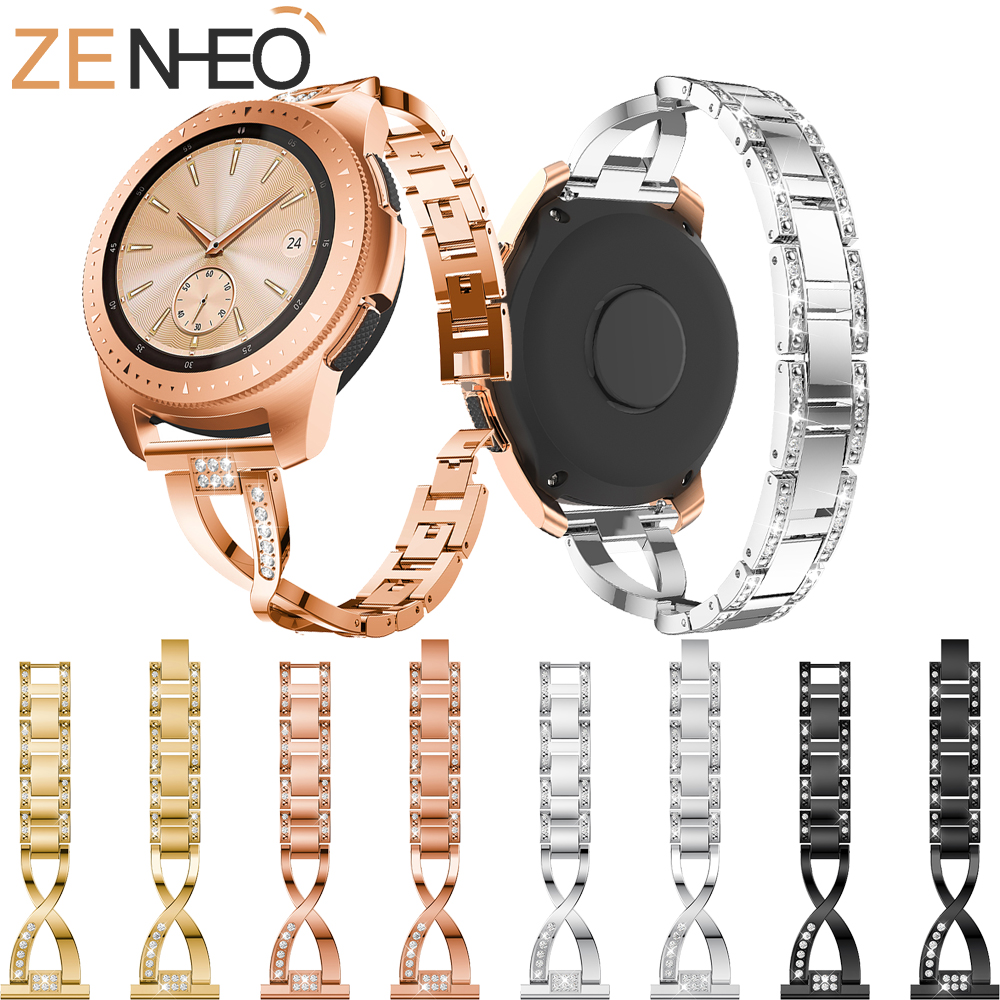 Stainless Steel Strap for Samsung Galaxy Watch 42mm Watch Band With Bling Rhinestones Metal Band for Samsung Galaxy Watch 42mm цена