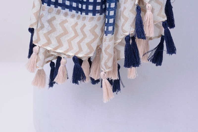 Chevron Striped Tassel Scarf | Shawls and Wraps