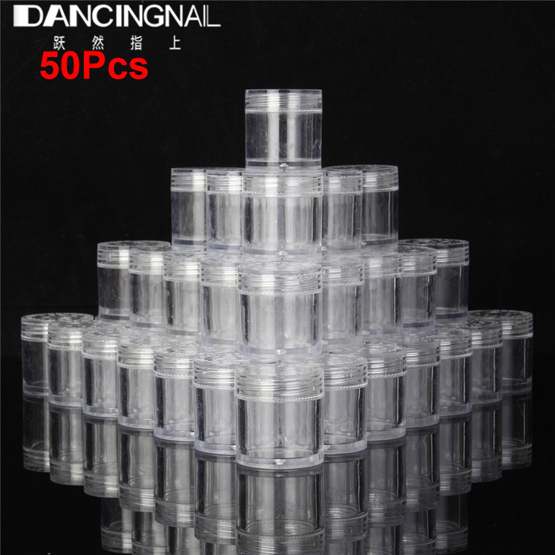 20/50pcs 10g Empty Plastic Makeup Nail Art Bead Storage Container Portable Cosmetic Cream Jar Pot Box Round Bottle Transparent 100pcs pack 5g portable nail art cream bottle plastic empty clear cream bottle for nail art glitter dust powder