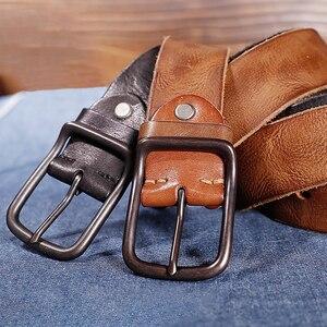 Image 2 - Catelles Male belt Cow strap male Genuine Leather vintage mens belts Pin Buckle Designer Belts For Men leather belt men 6010