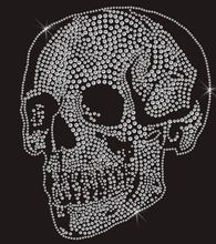FS2 pc/lot White clear Diamond Skull  Rhinestone Applique hot fix rhinestone patches iron on crystal transfers design shirt bag