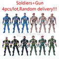 4pcs/lot New kids mini play soldiers whith gun toys security interactive fun games Army Men Action Military Figures/9cm
