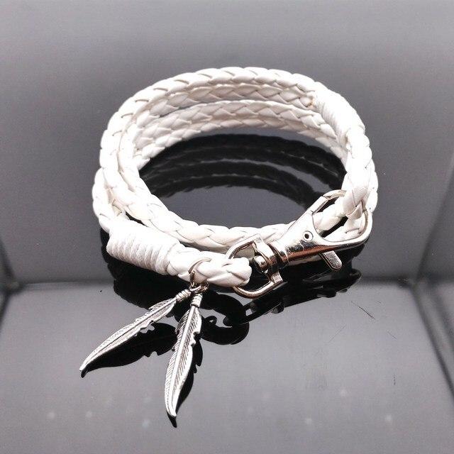 Leather Bracelets For Women Wristband White Bracelet Men Plant Leaf Hand Wrap Braided