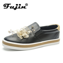 Fujin Flats Shoes Women Handmade Appliques Loafers Leisure Pedal Plat Lazy Summer Black Dropshipping