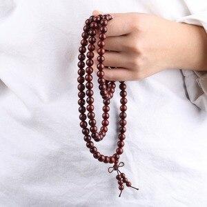 Image 3 - Pulsera TUMBEELLUWA de sándalo con sangre de 8mm, collar 108 tibetano budista Mala cuentas de oración