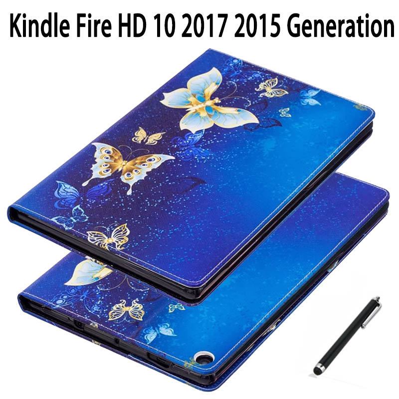 cover For Amazon Kindle Fire HD 10 2017 7th Cute Cartoon PU Leather Case For Amazon Fire HD10 2015 5th Folding Stand Skin Shell cartoon painted flower owl for kindle paperwhite 1 2 3 case flip bracket stand pu cover for amazon kindle paperwhite 1 2 3 case
