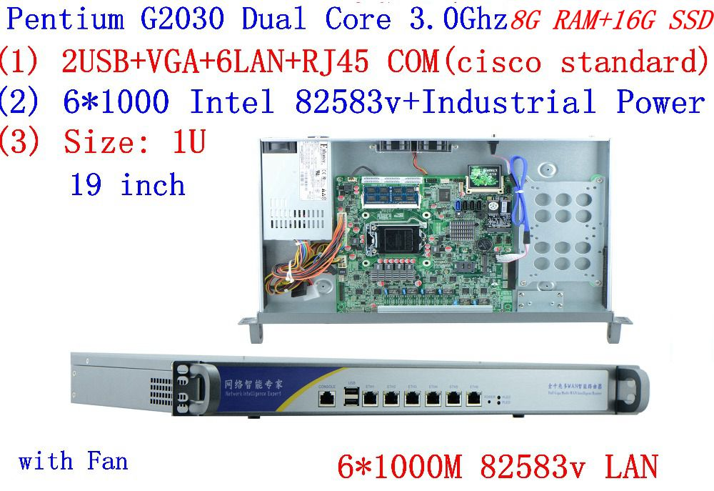Cheap Server Rack 1U Routers With 6*1000M 82583v Gigabit  InteL G2030 3.0Ghz 8G RAM 16G SSD Support ROS RouterOS Mikrotik