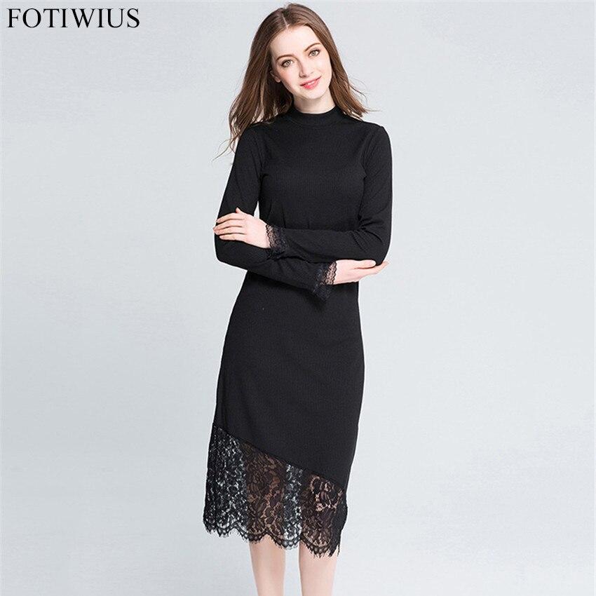 L-5XL Plus Size Women Clothing 2017 Autumn Winter Sweater Dress Lace Hem Slim Black Long Knitted Pencil Dresses Robe Femme