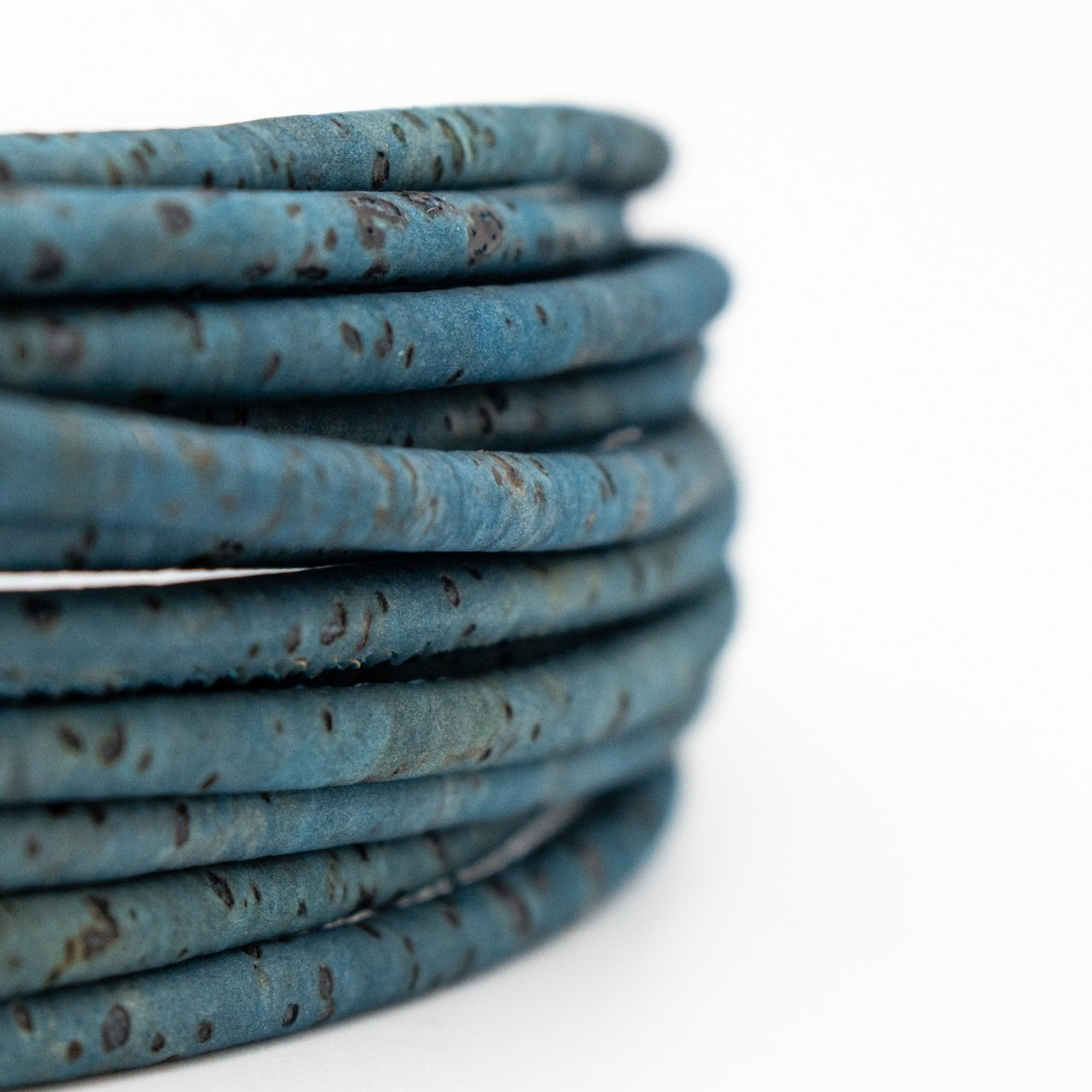 3mm turquoise green Cork Cord Portuguese cork jewelry supplies /Findings cord vegan material COR