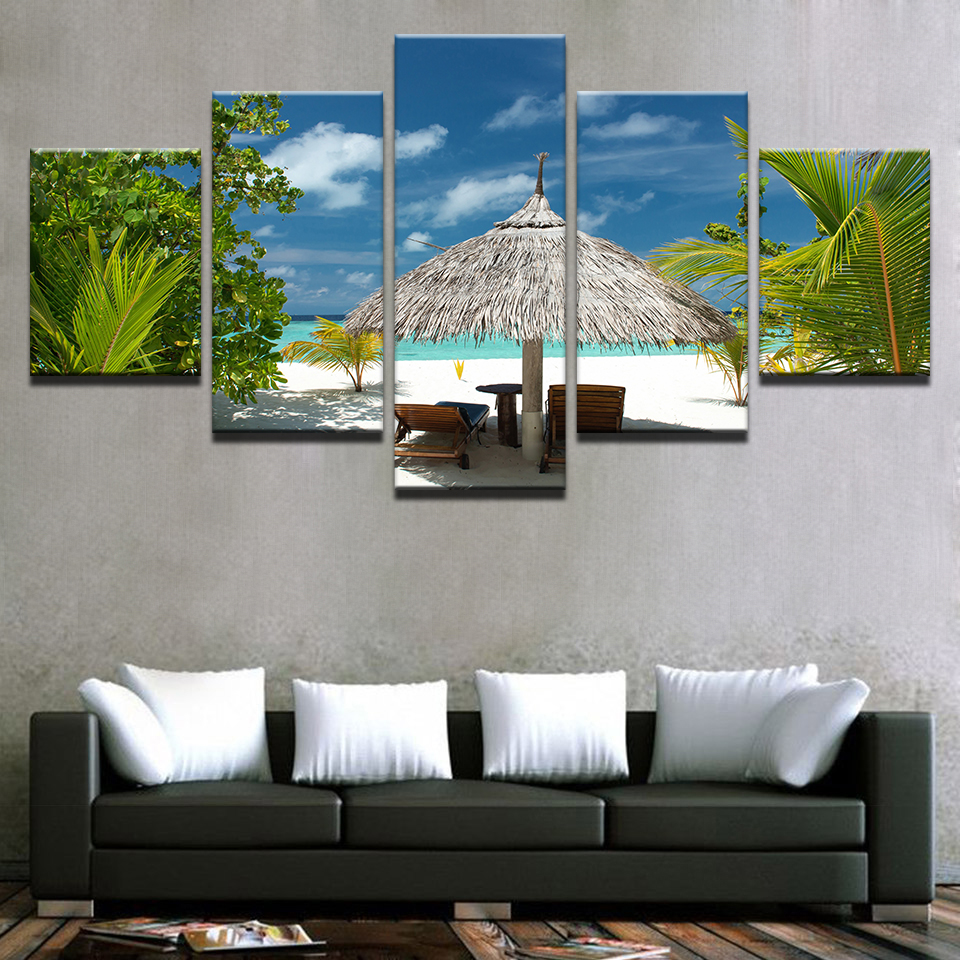 Canvas Paintings Wall Art Room HD Prints 5 Pieces Tropical Island Pictures Palm Trees Beach Seascape Poster Home Decor Framework