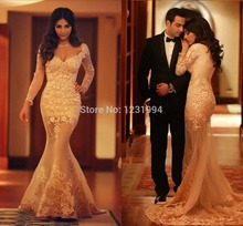Elegant 2015 Modest Long Mermaid Evening Gowns Sleeves Deep V-neck Floor Length Sexy Dress