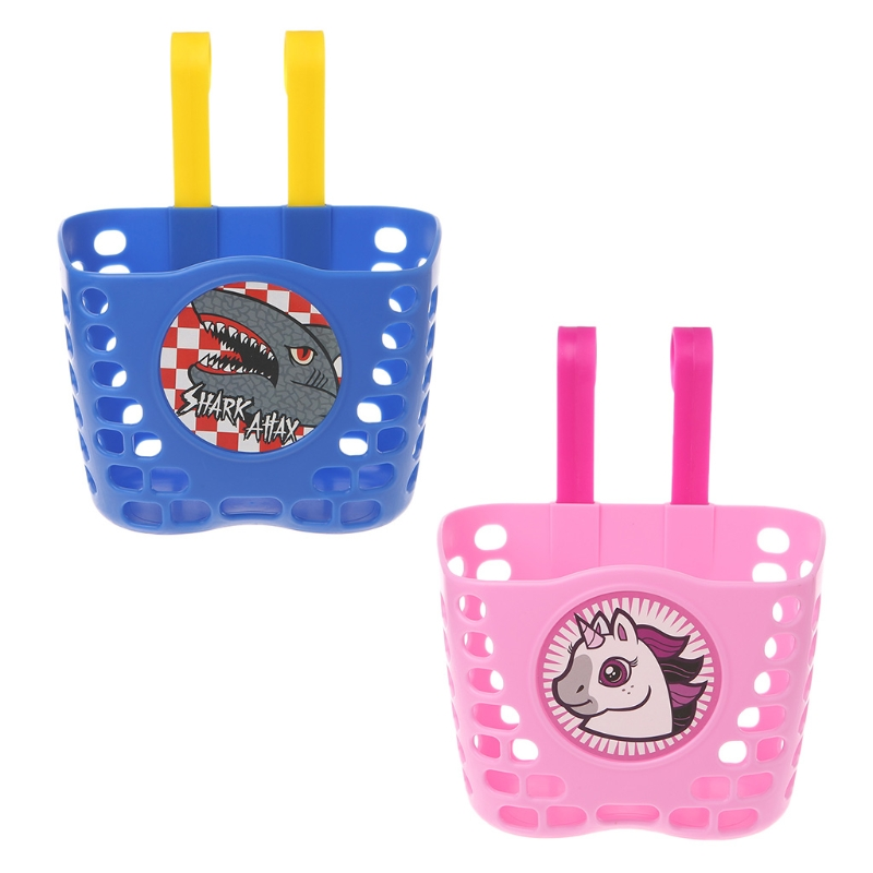 Bicycle Scooter Basket Children <font><b>Bike</b></font> Plastic Cartoon Front Handlebar <font><b>Carrier</b></font> <font><b>Bag</b></font> blue pink image