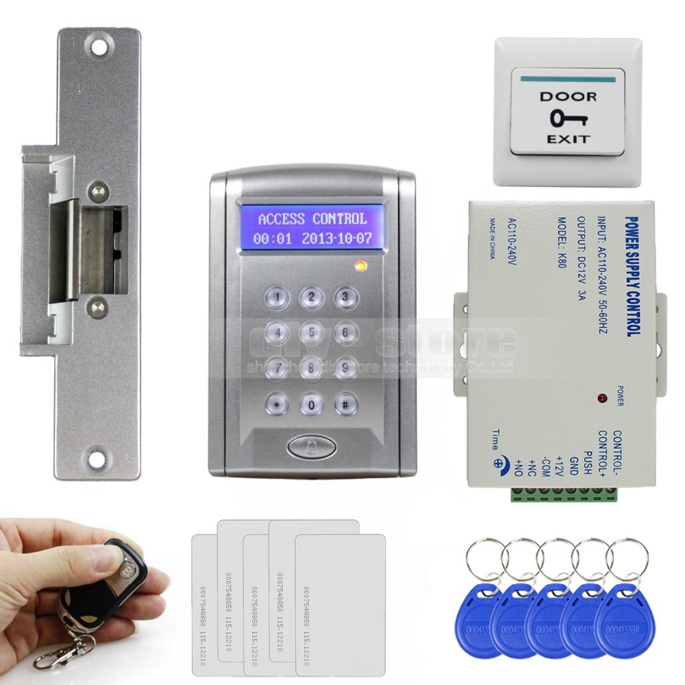 DIYSECUR Remote Controlled ID Card Access Control Security System Kit With Doorbell Button + Strike Lock + 10 Free ID Cards diysecur magnetic lock door lock 125khz rfid password keypad access control system security kit for home office