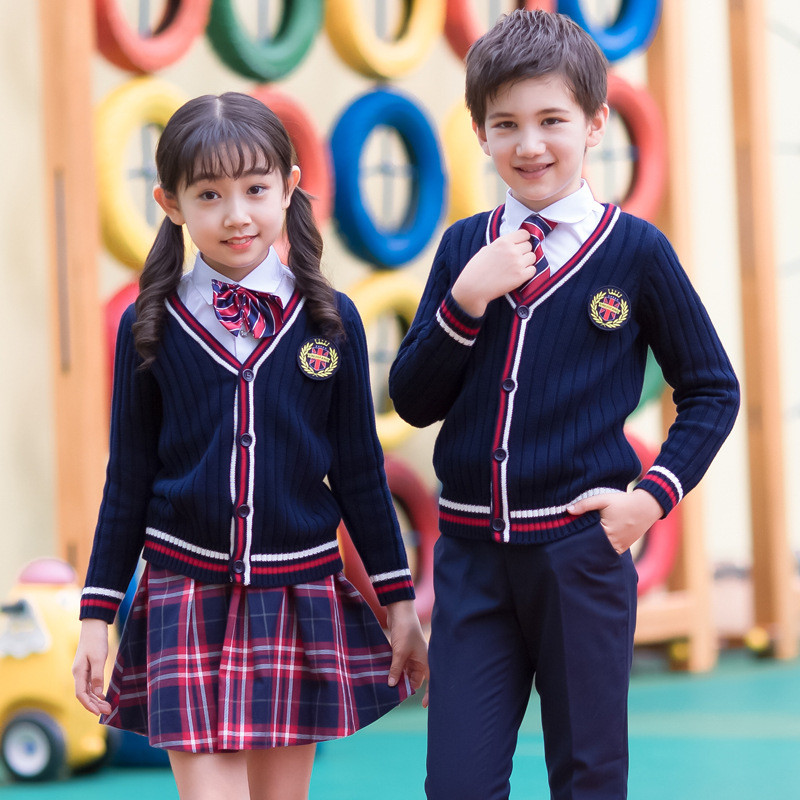 Kids Formal British Style Performing Suit Girls Boys School Uniforms Shirt + Sweater + Pant Tutu Skirt + BowTie Set Costume