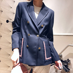 Women's high quality double-breasted pockets blazer coat New 2019 spring autumn casual women's blazer jackets A262